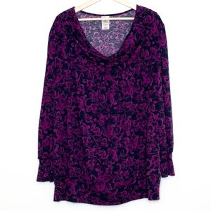 Just My Size Purple Floral Blouse Womens 3X BG